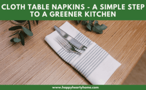 A table setting with a stripe cloth table napkin.