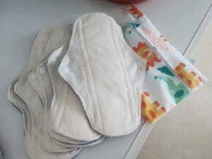 Washable Menstrual Pads - white colored medium size