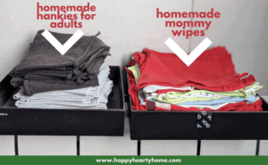 homemade hankies and mommy wipes in boxes