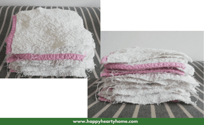 homemade terry cloth wipes for baby's bum